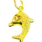 จี้ ทองคำแท้ รูปปลาโลมา 1 ตัว ตัดลาย หนัก 1/2 สลึง